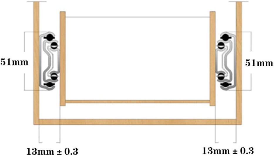 HBJSkcn Tobog/án Industrial para Cajones Tobog/án De Servicio Pesado Tobog/án para Cajones con Cerradura Rodamiento De Bolas Gu/ía De 3 Secciones Completamente Extendida Adecuado para Gabinetes