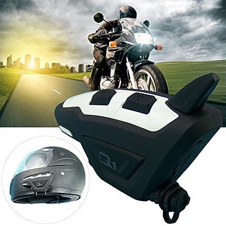 Q1 - Auriculares inalámbricos para casco de motocicleta con Bluetooth MP3 (1 unidad), color negro: Amazon.es: Coche y moto