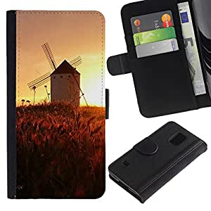KingStore / Leather Etui en cuir / Samsung Galaxy S5 V SM-G900 / Sunset Beautiful Nature 45