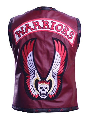 The Jacket Makers Warriors Vest Leather Movie Skull Authentic Costume (m, Lambskin Leather) Maroon