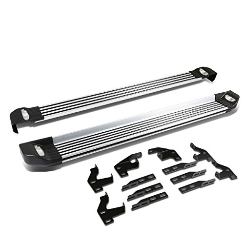 For 09-15 Honda Pilot 2nd Gen Pair of 5.25 inches Brushed Side Nerf Step Bar Lighted Running Boards ()
