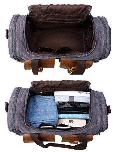 Canvas Duffle Bag Overnight Bags for Men Weekend Travel Duffel Weekender Bags for Women Canvas Leather Gym Travel Shoulder Tote Carry On Luggage Large with Shoes Compartment, College Student Gift by Kemy's (Image #6)