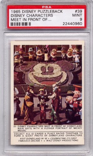 - 1965 Disney Puzzleback - Disney Characters Meet In Front of Disneyland Main Gate #39 PSA 9 MINT (Graded Non-Sports Cards)