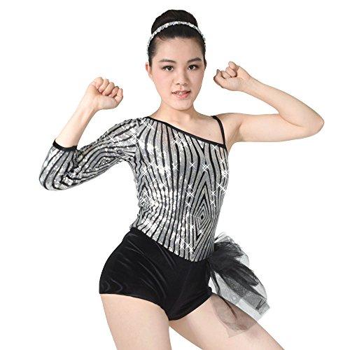 MiDee Diagonal-neck Sequins Tap & Jazz Velvet Biketard Dance Costume (LC, Silver/Black) (Cheap Dance Costumes)