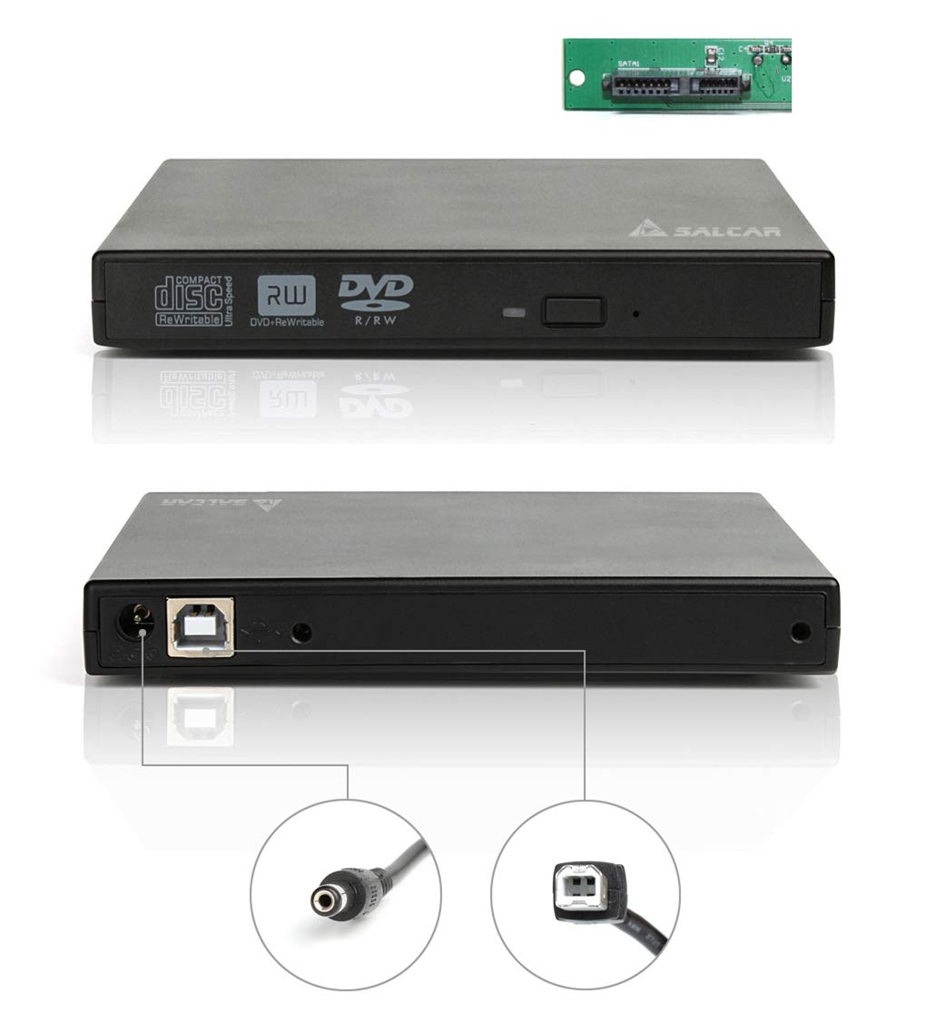 Salcar 6532 - Carcasa para unidades de reproducción o almacenamiento (12.7 mm, SATA), color negro