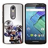 Patriot Football - Aluminum Metal&Hard Plastic Back Case Cover - Black - Motorola Droid Turbo 2 / Moto X Force
