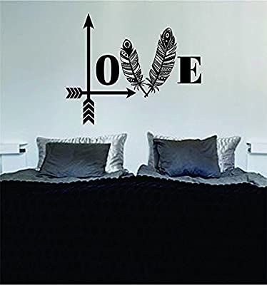 Love Arrows Tribal Feathers Art Decal Sticker Wall Vinyl Bedroom Home