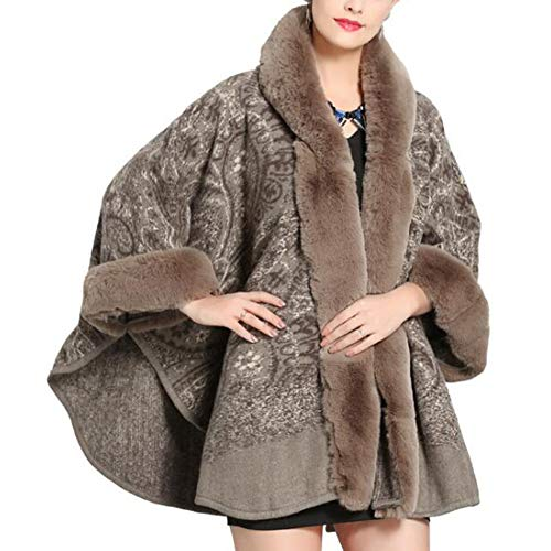 Autumn Winter Hooded Shawl Cloak Cape Poncho Female Faux Fox Fur Collar Coat Cardigan,Brown-OneSize