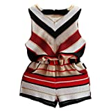 Toddler Clothes Set,kaifongfu Kids Baby Girls Stripe Vest Shirt Tops+Shorts Pants Outfit Clothes Set (3T(90), Red)