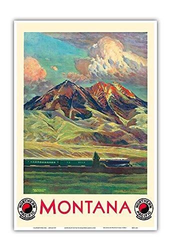 - Montana - Absaroka Mountains - North Coast Limited - Northern Pacific Railway - Vintage Railroad Travel Poster by Gustav Wilhelm Krollmann c.1920s - Master Art Print - 13in x 19in