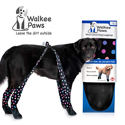 (Walkee Paws Waterproof Dog Leggings - Keep Your Dog's Feet Clean and Dry Without The Hassle of Boots - Confetti Color (Large), WPCONL)