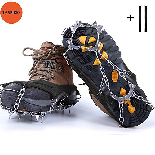 ZEBRAFI Upgraded Version of Walk Traction Ice Cleat 19 Spikes Crampons,True Stainless Steel Spikes and Durable Silicone,/Boots for Hiking On Ice&Snow Ground,Mountian ()