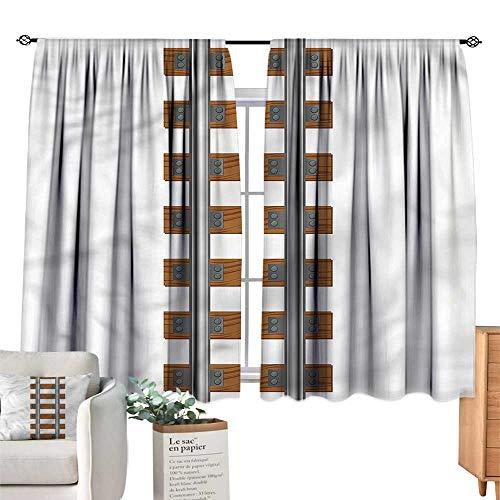 - WinfreyDecor Train Decor Curtains Ways of Transportation Tracks Set of Two Panels 55