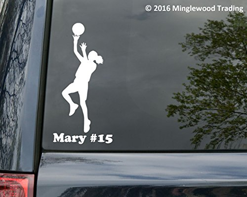 "Price comparison product image Girl Basketball Player vinyl decal sticker with Personalized Name 7.5"" x 2.5"" Female Womens RED"