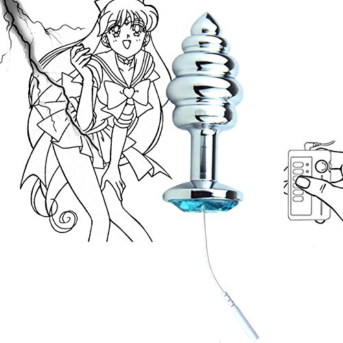 Totslove 8 Colors Metal Electric Shock Anal Plug Butt Plugs Toys Sex Toys Wire Tail+Crystal Medical Electro Erotic Toys,Spiral Anal Beads