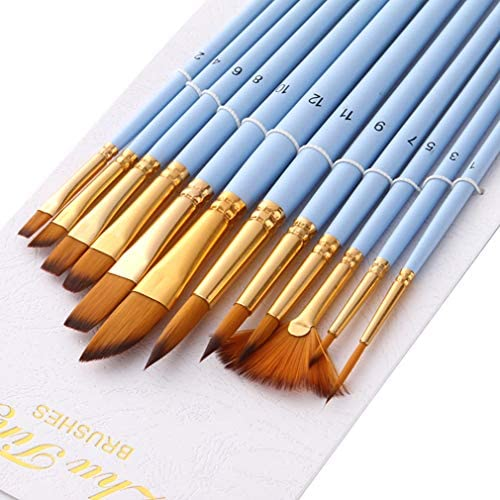 LUXWELL(ラクスウェル)画筆 画筆セット 油絵筆セット 水彩筆 画材筆 ペイントブラシ 油絵用筆 水彩画筆 油絵筆 扇形の水彩ペン アクリル筆 アクリル用 12本セット
