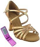 Very Fine Ballroom Latin Tango Salsa Dance Shoes for Women S9216 2.5 inch Heel + Foldable Brush Bundle - Copper Nude Leather - 6.5