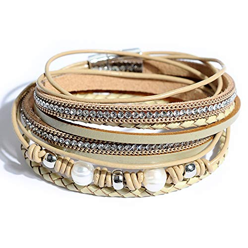 Artilady Shinning wrap Clasp Bangle for Women (Light Brown with Pearl)