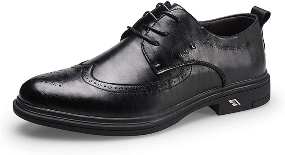 Z.L.FFLZ Zapatos Zapatos Oxford para Hombre Zapatos Brogue Estilo de Cordones Microfibra Cuero Moda Clásico Suela grabada Los Zapatos de Cuero (Color : Black, Size : 37 EU)