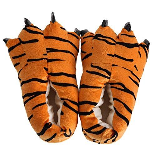 SODIAL Pantoufles en L Pantoufles Chambre de de Chaussures Forme de Moelleux D'Hiver Chaussures Unisexes Chaudes Patte Tigre Tigre Chaudes de Patte 4q4RxOrwnt