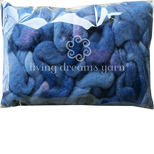 Wool Roving Hand Dyed. Super Soft BFL Combed Top Pre-Drafted for Easy Hand Spinning. Artisanal Craft Fiber ideal for Felting, Weaving, Wall Hangings and Embellishments. 1 Ounce. Copenhagen Blue