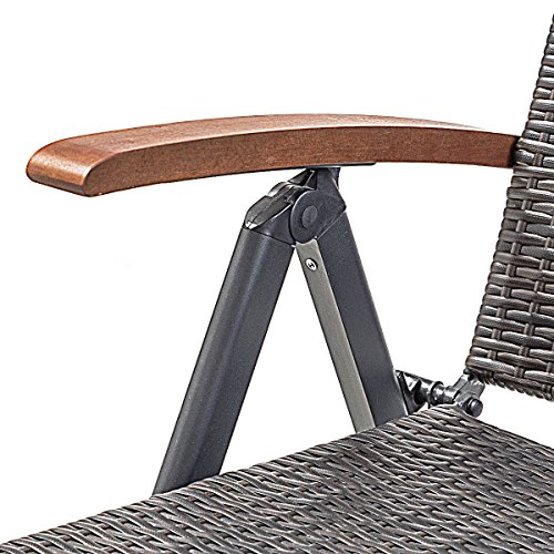 Outdoor Chaise Lounge with 2 Wheels for Easy Movement Folding Recliner 7 Adjustable Position Rattan Lounge Chair Heavy Duty Aluminum Tube Construction Perfect for Patio Garden Beach Pool Side Using by HPW (Image #6)