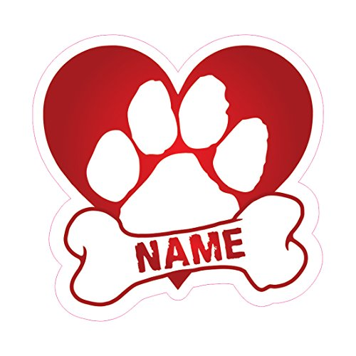 AZ House of Graphics Custom Dog Heart Sticker - Many Colors - Personalized Name Vinyl Decal Memorial paw Bone car Truck Window pet (Red)