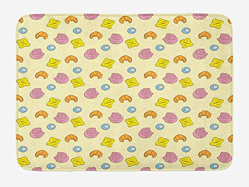 (Weeosazg Colorful Bath Mat, Fried Egg Bread Croissant and Coffee in The Morning Healthy Breakfast Food Cartoon, Plush Bathroom Decor Mat with Non Slip Backing, 23.6 W X 15.7W Inches,)