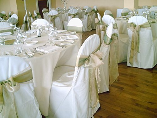 SPRINGROSE 50 White Polyester Standard Round Top Banquet Wedding Chair Covers. (Top Folding Table Standard Round)