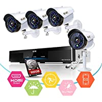 ELEC 4-Chinnel 720P CCTV Security Camera System,1080N AHD DVR Recorder and (4)1.0MP 720P(1500TVL) Night Vision Indoor/Outdoor Weatherproof Surveillance Bullet Cameras with 500GB Hard Drive