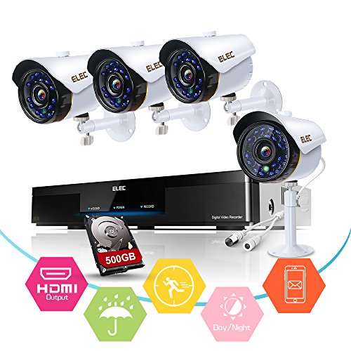 ELEC 4-Channel HD-TVI 1080N/720P Video Security System DVR Recorder with 4x HD 2000TVL Indoor/Outdoor Weatherproof CCTV Cameras 500GB Hard Drive ,Motion Alert, Smartphone& PC Easy Remote Access