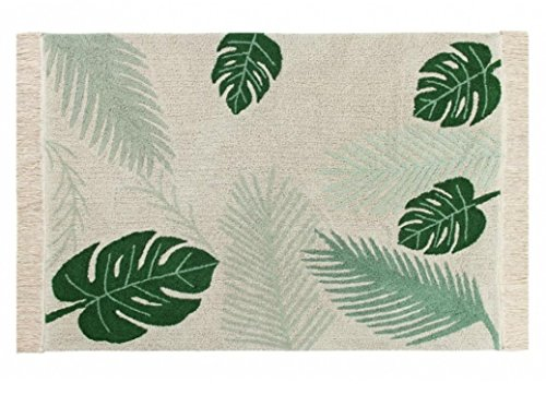 Lorena Canals, Artisan Made Tropical Green Palm Leaf 4'7'' x 6'7'' Washable Rug by Lorena Canals