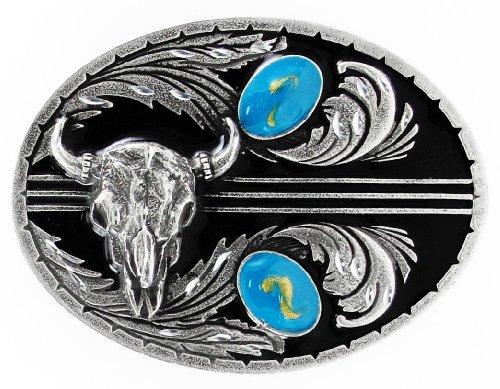 Diamond Skull Belts - Turquoise Stones with Buffalo Skull (Diamond Cut) - Pewter Belt Buckle