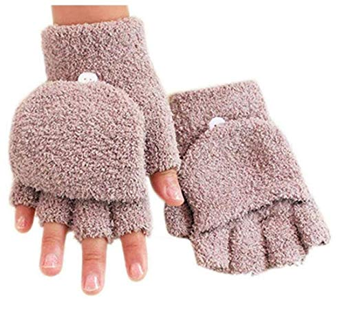 - Tmrow Women's Knitted Fingerless Soft Mitten Coral Fleece Gloves with Flip Cover,Khaki