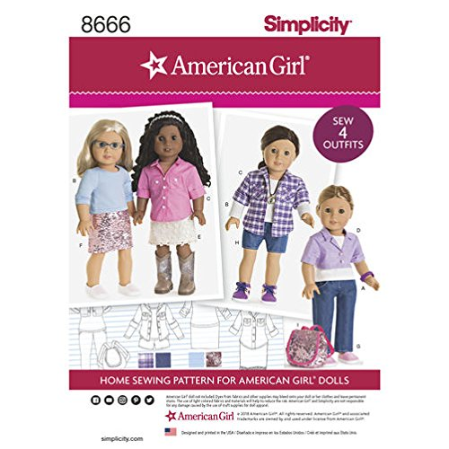 Doll Clothing Simplicity (Simplicity Pattern 8666 American Girl 18 Doll Clothes Sewing Pattern)