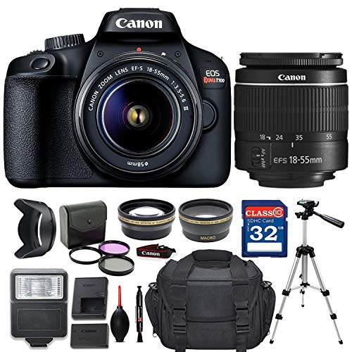 Canon EOS Rebel T100 / 4000D DSLR Camera with EF-S 18-55mm f/3.5-5.6 III Lens + Deluxe Accessory Bundle