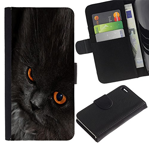 EuroCase - Apple Iphone 4 / 4S - nebelung cat black eyes chartreux - Cuir PU Coverture Shell Armure Coque Coq Cas Etui Housse Case Cover