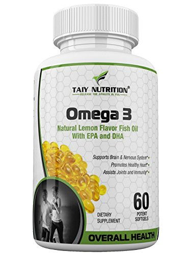 (Taiy Nutrition - Extra Strength Omega 3 Fish Oil Essential Fats Supplement, 100% Pure and Natural Immune System Booster, 60 Soft Gel Capsules)