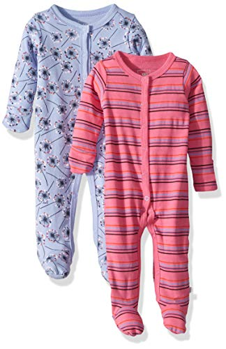 Rosie Pope Kids' Toddler Baby Girls' 2 Pack Coveralls, Blue/Pink Flowers, 0-3 Months