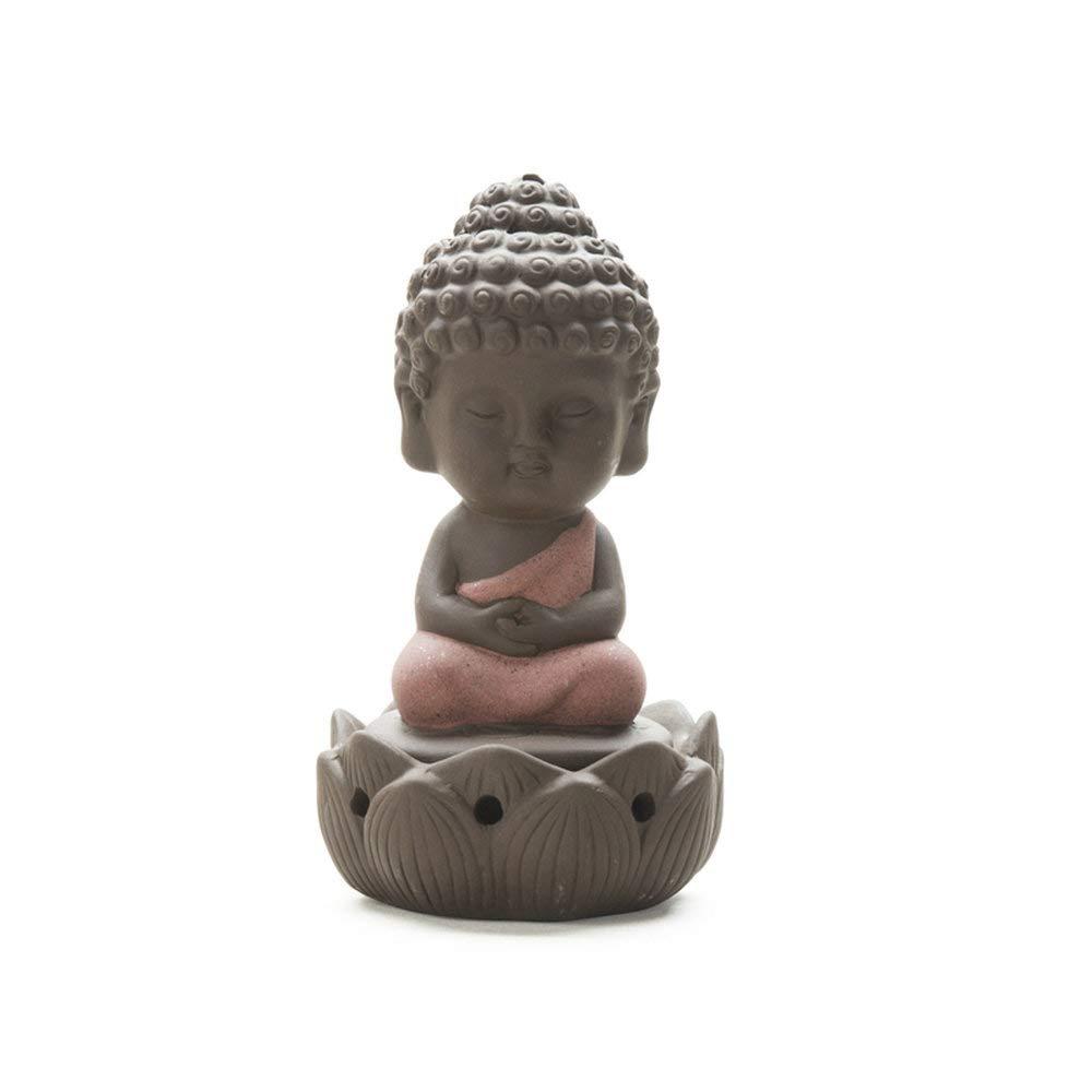 Statuetta di Buddha in ceramica, per incenso e olio di sandalo Beige MBLUE