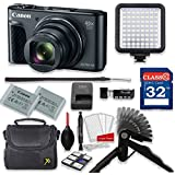 Canon PowerShot SX730 HS 20.3MP 40X Optical Zoom Digital Camera Video Creator Kit (Black)+ 32GB High Speed Memory Card + Steady Grip + LED Video Light + Extra Battery + Professional Accessory Bundle