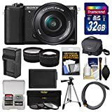 Cheap Sony Alpha A5100 Wi-Fi Digital Camera & 16-50mm Lens (Black) with 32GB Card + Case + Battery & Charger + Tripod + Filters + Tele/Wide Lens Kit