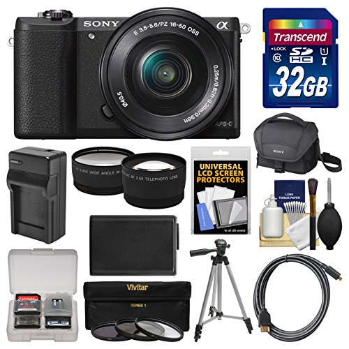 Sony Alpha A5100 Wi-Fi Digital Camera & 16-50mm Lens (Black) with 32GB Card + Case + Battery & Charger + Tripod + Filters + Tele/Wide Lens Kit