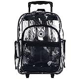 Clear Rolling Student Backpack Kids Transparent School Book Bag, Black