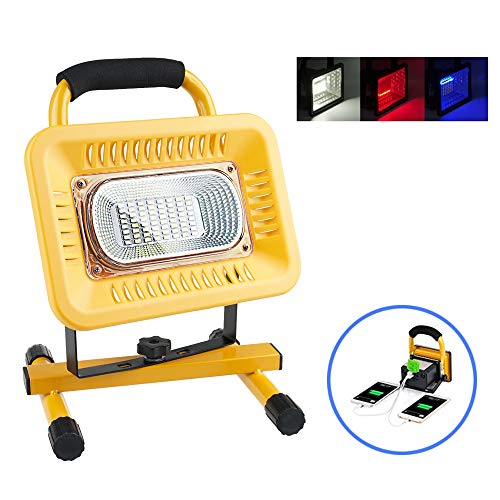 Ultra Bright LED Rechargeable Work Lights,Lanfu Emergency Flood Lights with 3 Modes and SOS Flash Light,USB Ports for Mobile Device Charge,Daily Waterproof,Excellent for Camping,Repairing,Mining
