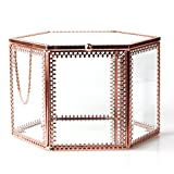 NCYP Vintage Faceted Hexagonal Prisms Mirrored Brass Glass Stylish Jewellery Box Organiser Display Storage Case for Rings Earrings Necklace Birthday Party Gift with Hinged Top Lid