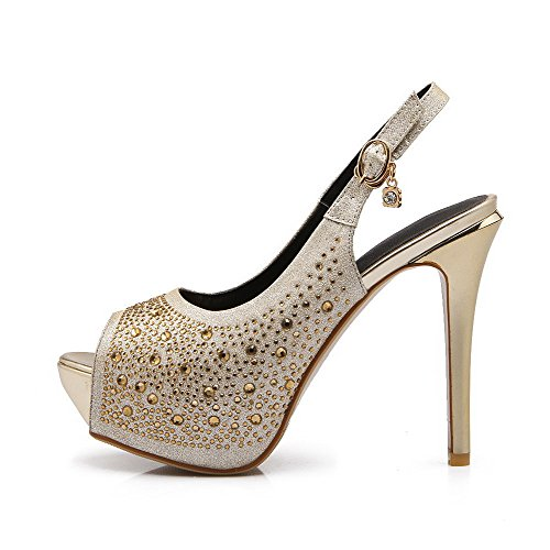 Amoonyfashion Womens Pu Solid Pull On Peep Toe Picchi Stiletto Sandali Oro