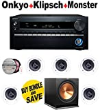 Onkyo TX-NR3030 11.2-Ch Dolby Atmos Ready Network A/V Receiver w/ HDMI 2.0 + 5 Klipsch - R1800C + Klipsch - R115SW + Monster Cable - PLATXPMS50 Bundle