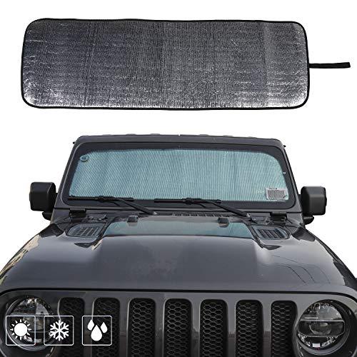 Front Windshield Sunshade Car Sun Shade Heat Shield JL Custom-fit Sunshade Sun Visor Mat for 2018 2019 Jeep Wrangler Rubicon Sahara JL 2/4 Doors ()