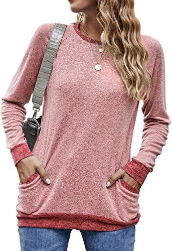 AIMENO Womens Casual Sweatshirts Long Sleeve Round Neck Shirts with Pocket Blouses Tunic Tops